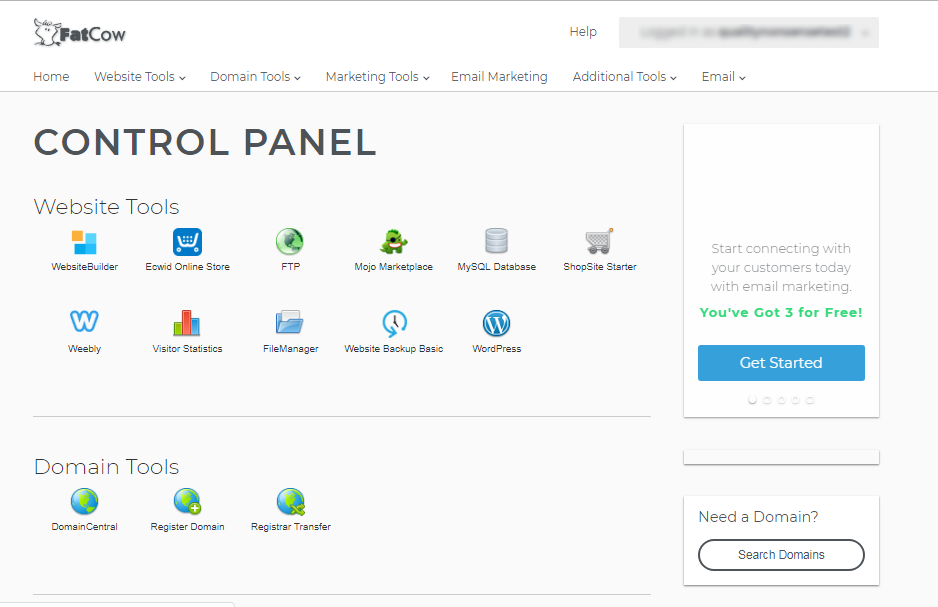 FatCow cPanel Control Panel