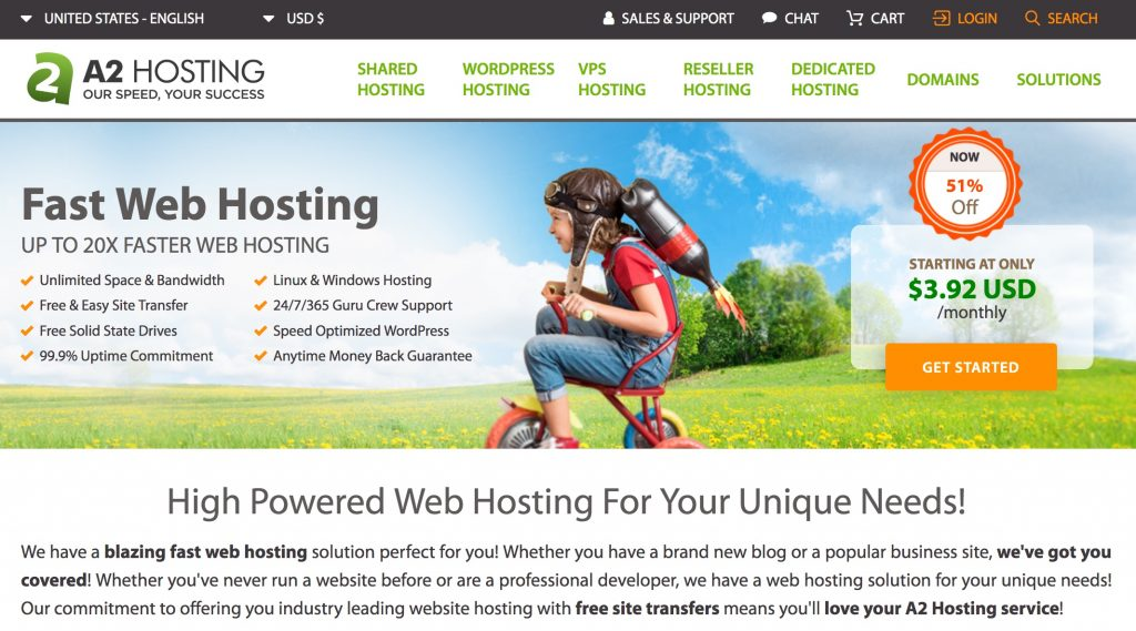 A2 Hosting's website
