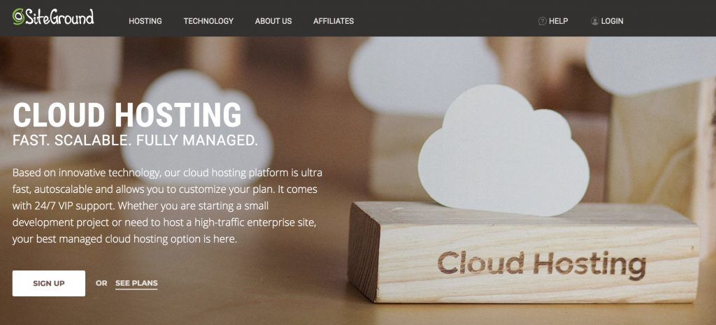 Cloud hosting with SiteGround