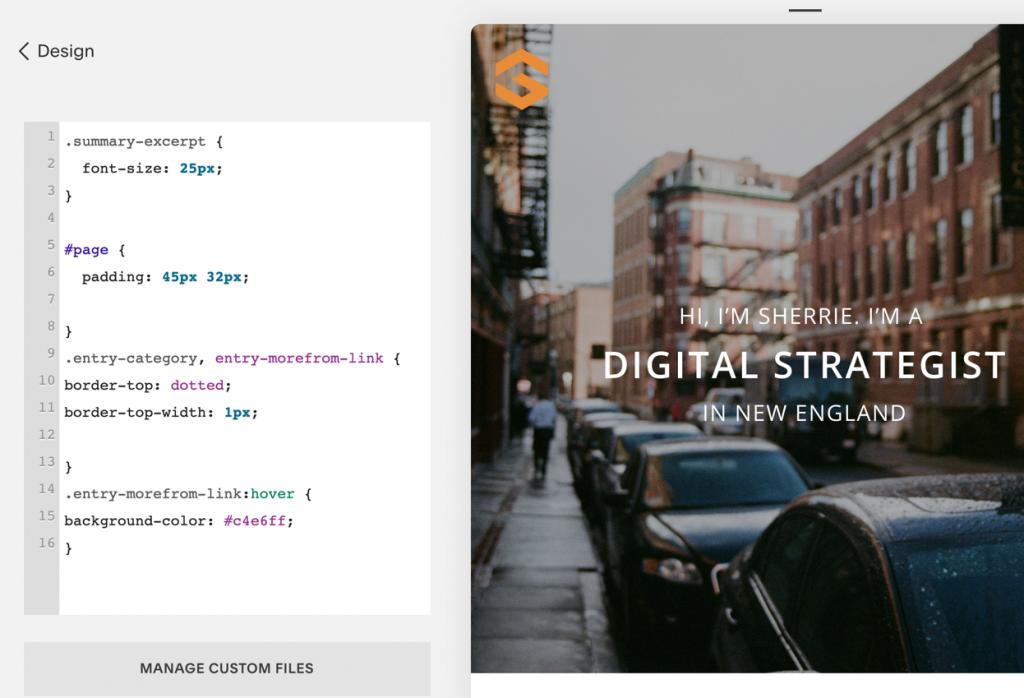 Squarespace CSS coding example