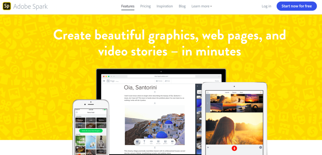 Screenshot of Adobe Spark Features Page