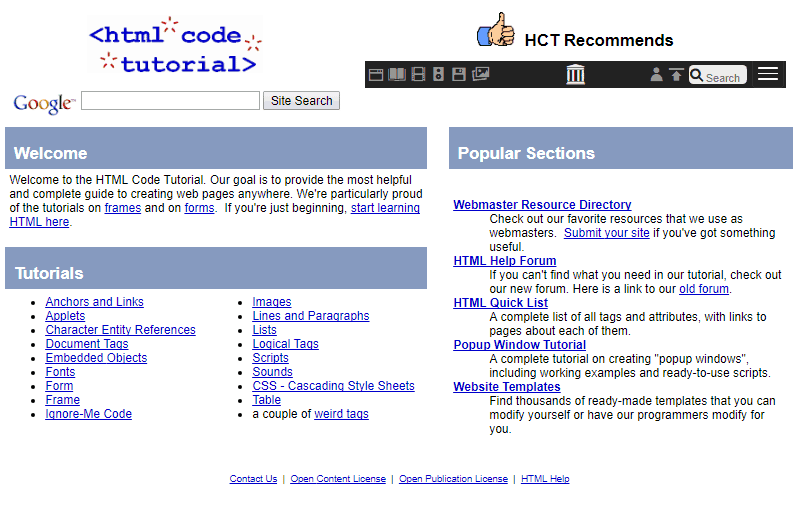 htmlcodetutorial.com circa 2005 - screenshot via waybackmachine