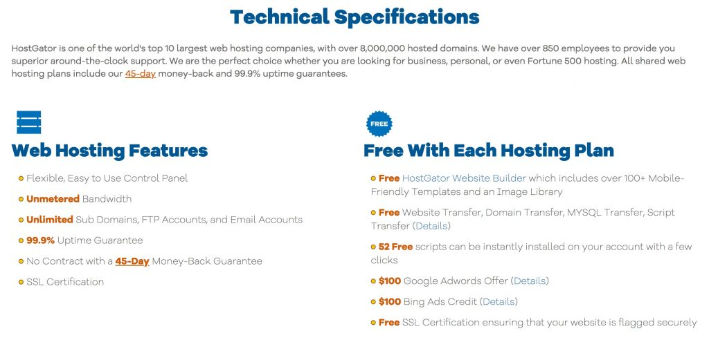 Hostgator Features