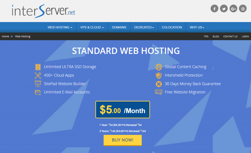 InterServer Shared Hosting Plan