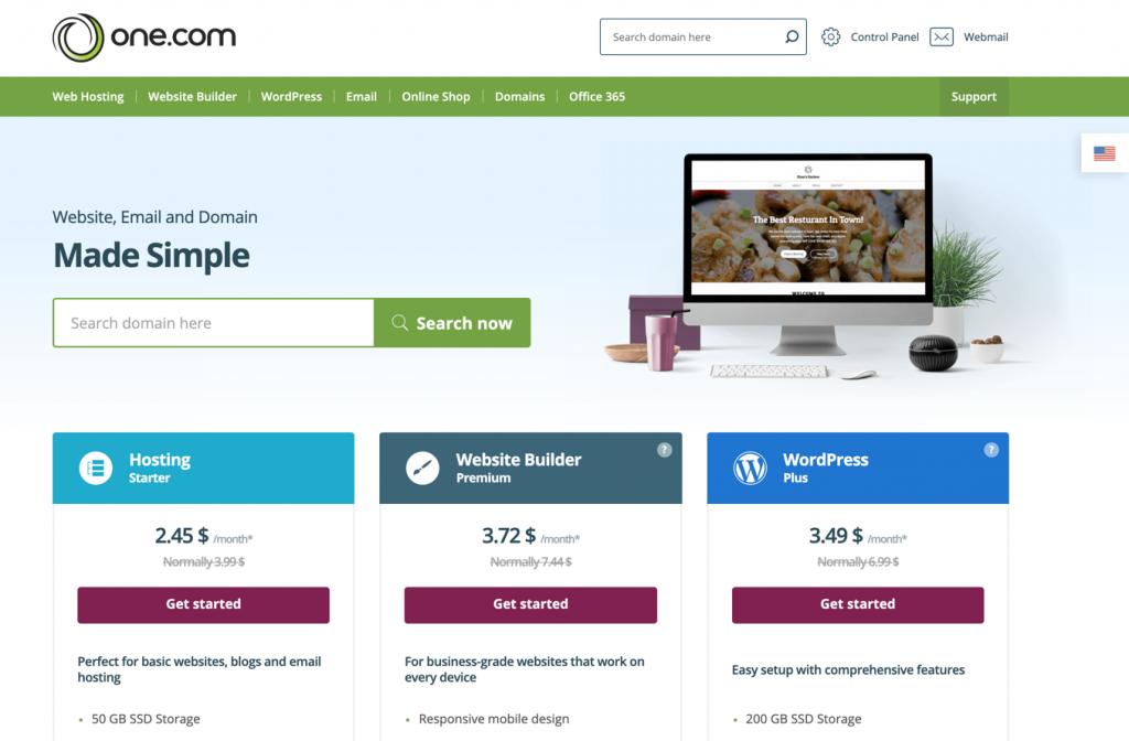 One.com home page