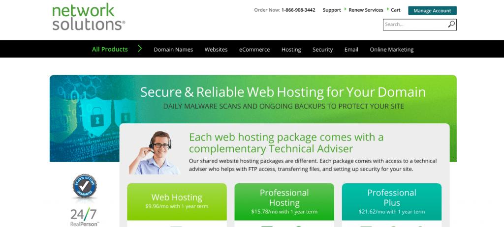 Network Solutions Hosting Screenshot