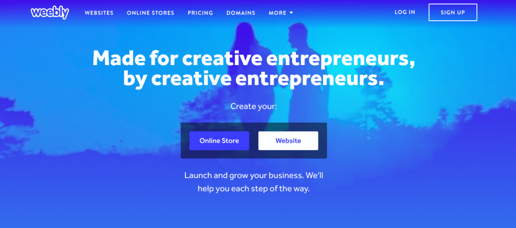 Weebly Homepage Screenshot