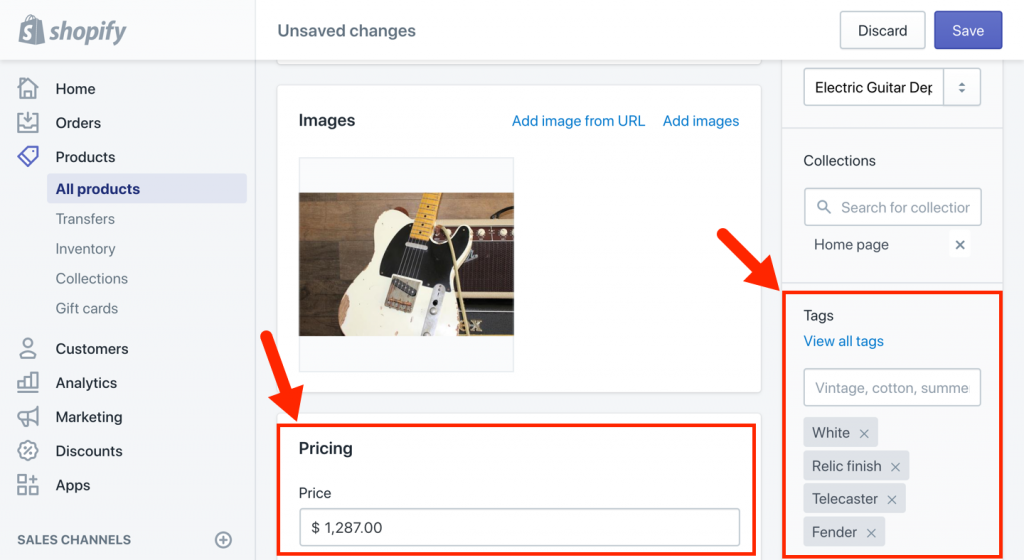 Shopify Product Tags