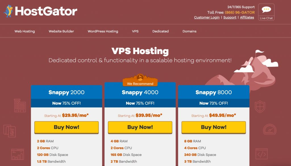 VPS plans at HostGator
