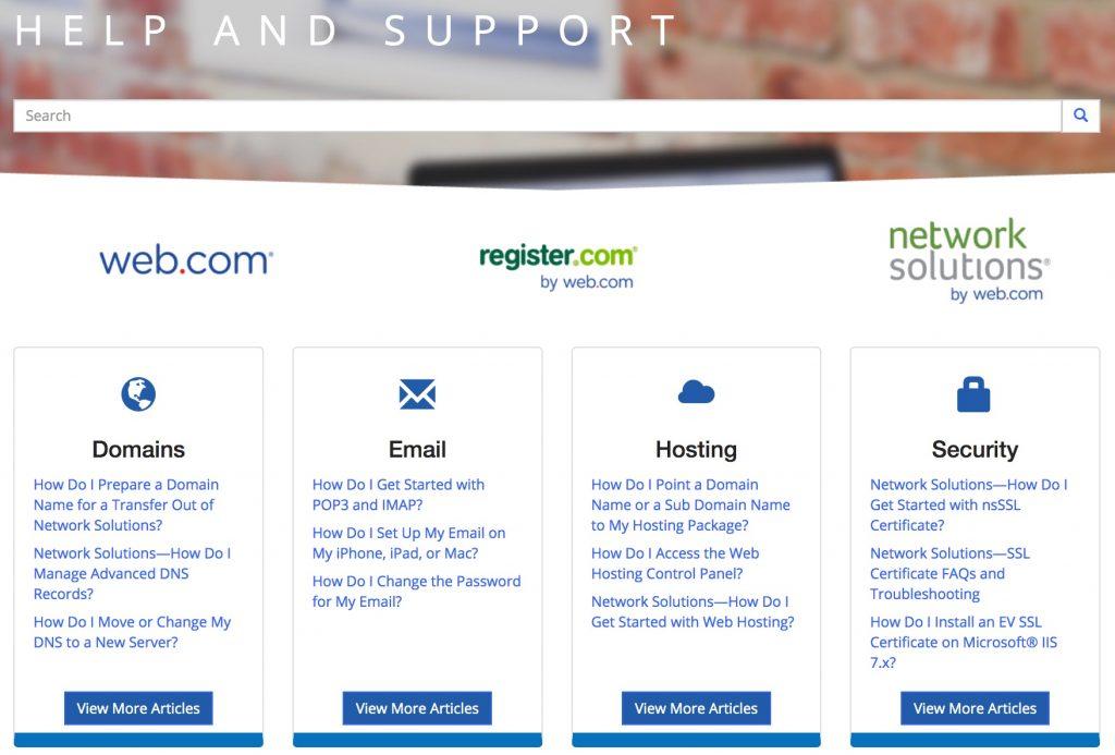 Web.com's knowledgebase