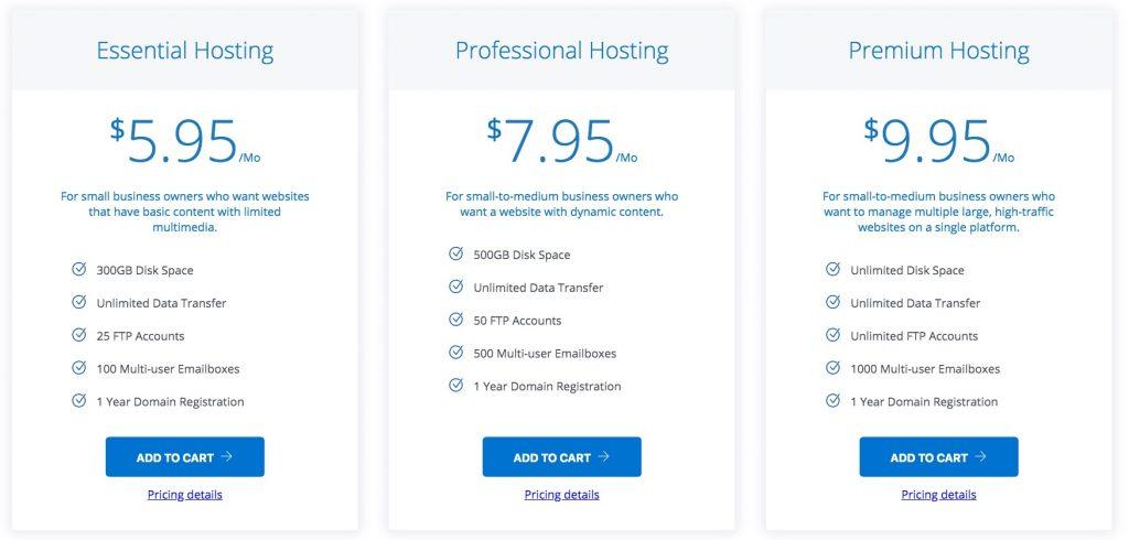 Web.com's shared hosting plans