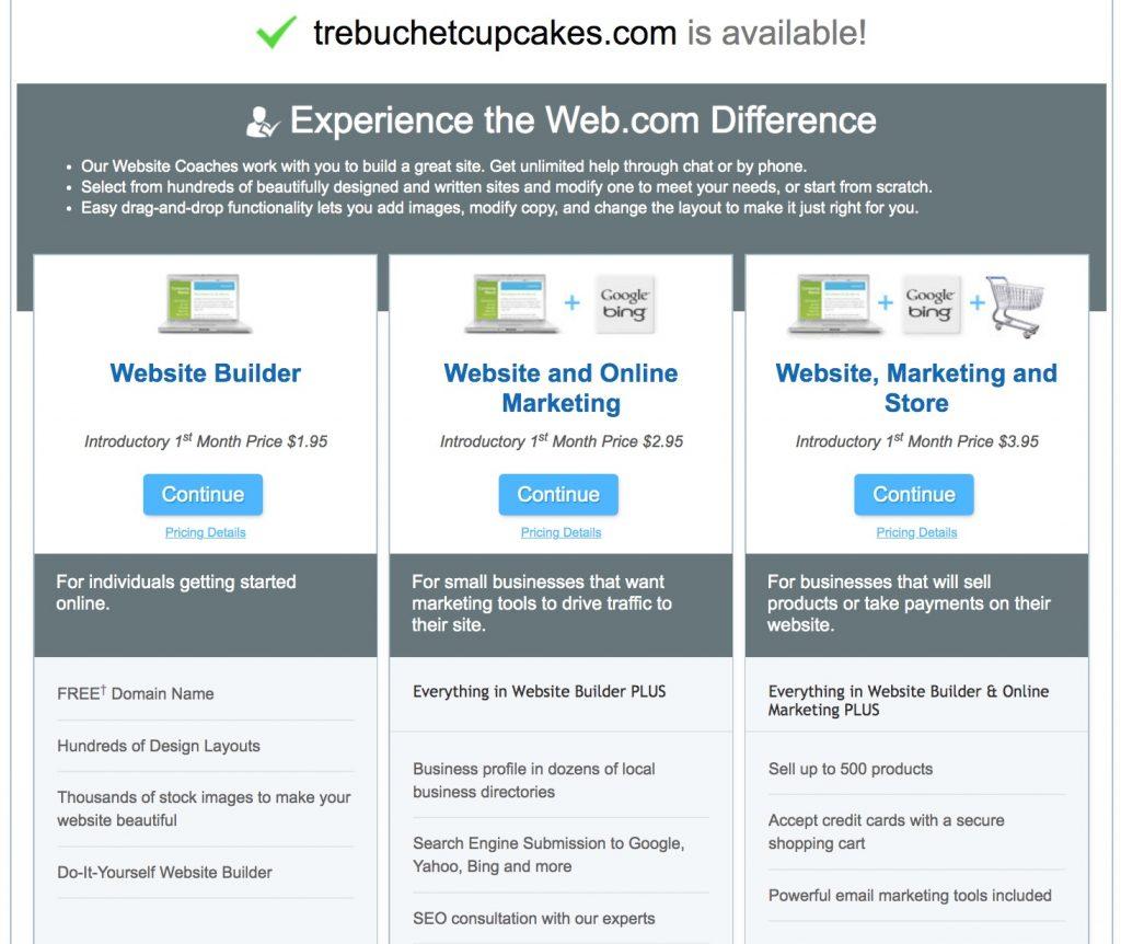 Web.com website builder plans