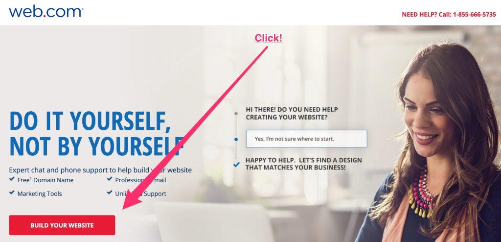 Web.com's start page for its DIY website builder