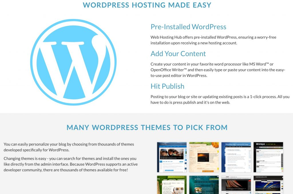 Web Hosting Hub's WordPress hosting plan and themes