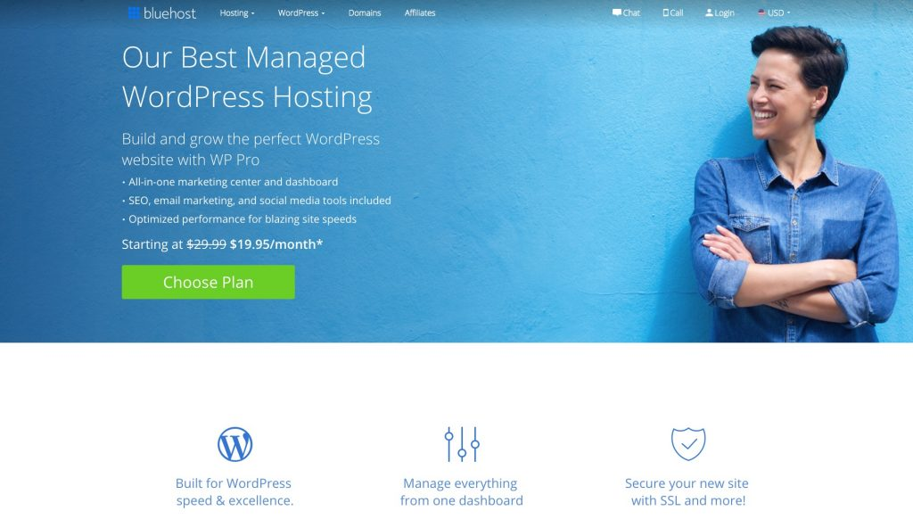 Managed WordPress hosting from Bluehost