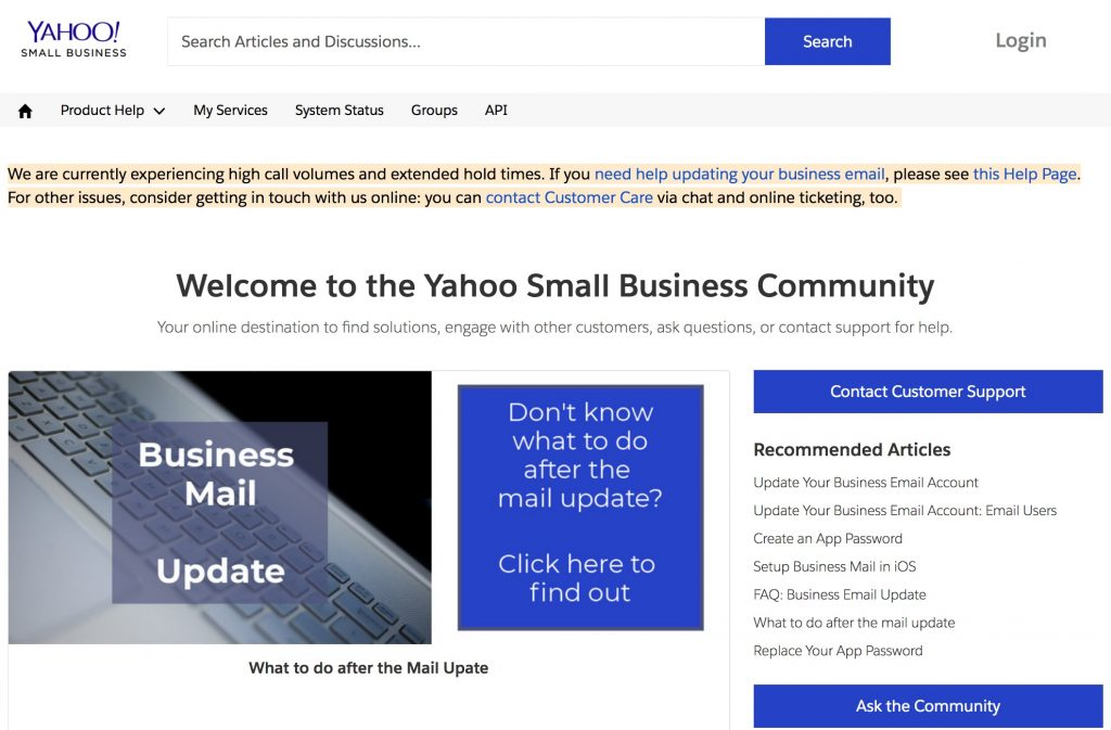Yahoo Web Hosting's help center